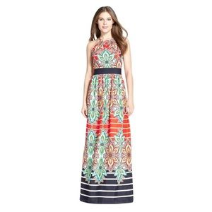 Eliza J. Multicolored Chain Halter Maxi Dress